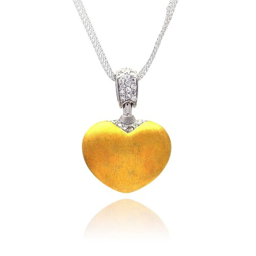 **Closeout** Wholesale Sterling Silver 925 Gold Plated Clear CZ Heart Pendant Necklace - STP00680