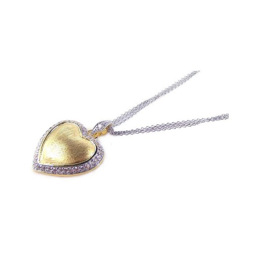 **Closeout** Wholesale Sterling Silver 925 Gold Plated Clear CZ Heart Pendant Necklace - STP00681