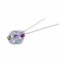 **Closeout** Wholesale Sterling Silver 925 Rhodium Plated Colorful Stones Pendant Necklace - STP00685