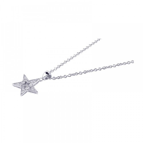 Wholesale Sterling Silver 925 Rhodium Plated Clear CZ Star Pendant Necklace - STP00686