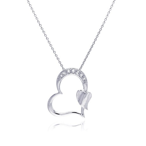 Wholesale Sterling Silver 925 Rhodium Plated Clear CZ Heart Pendant Necklace - STP00688