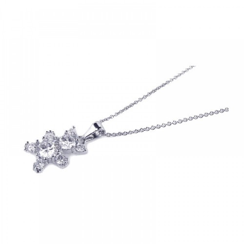 -Closeout- Wholesale Sterling Silver 925 Rhodium Plated Clear CZ Bear Pendant Necklace - STP00691