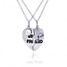 Wholesale Sterling Silver 925 Rhodium Plated Clear CZ Best Friend Heart Pendant Necklace - STP00699