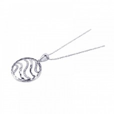 **Closeout** Sterling Silver Rhodium Plated Clear CZ Swirl Circle Pendant Necklace - STP00707