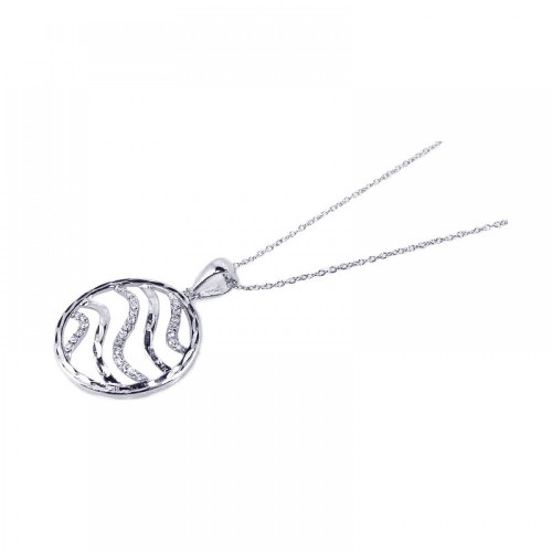 **Closeout** Wholesale Sterling Silver 925 Rhodium Plated Clear CZ Swirl Circle Pendant Necklace - STP00707