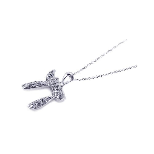 Wholesale Sterling Silver 925 Rhodium Plated Clear CZ Pi Pendant Necklace - STP00708