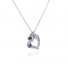 Sterling Silver Rhodium Plated Love Heart Pendant Necklace - STP00715