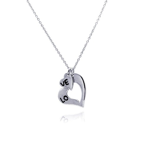**Closeout** Wholesale Sterling Silver 925 Rhodium Plated Love Heart Pendant Necklace - STP00715