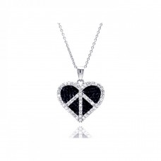 -Closeout- Wholesale Sterling Silver Rhodium and Black Rhodium Plated Clear and Black CZ Heart Pendant Necklace - STP00722
