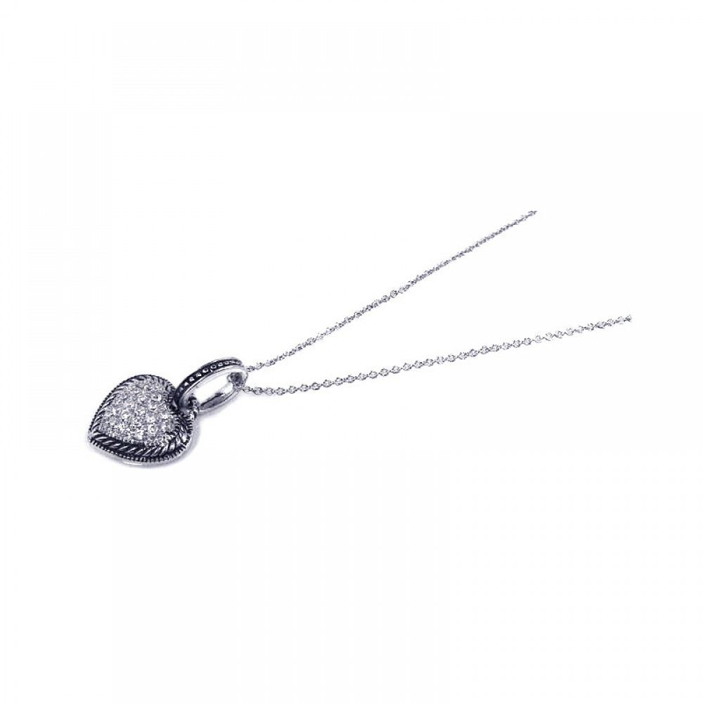 **Closeout** Wholesale Sterling Silver 925 Black Rhodium Plated Clear CZ Heart Pendant Necklace - STP00728