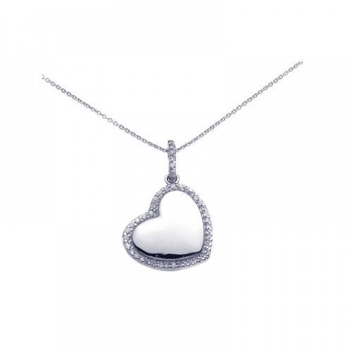 **Closeout** Wholesale Sterling Silver 925 Rhodium Plated Clear CZ Heart Pendant Necklace - STP00730
