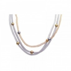 **Closeout** Sterling Silver Gold & Rhodium Plated Bead 3 Strand Pendant Necklace - STP00736