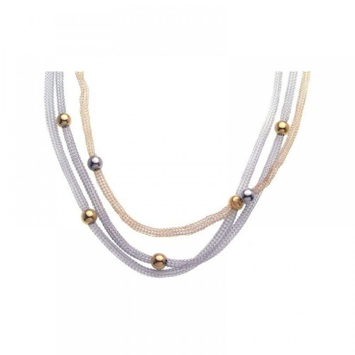 **Closeout** Wholesale Sterling Silver 925 Gold and Rhodium Plated Bead 3 Strand Pendant Necklace - STP00736
