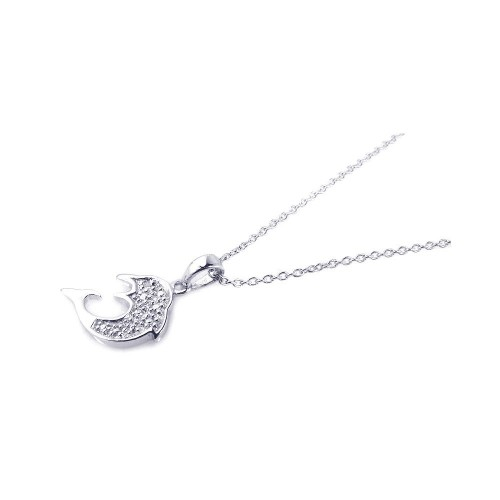 -Closeout- Wholesale Sterling Silver 925 Rhodium Plated Clear CZ Fish Pendant Necklace - STP00741