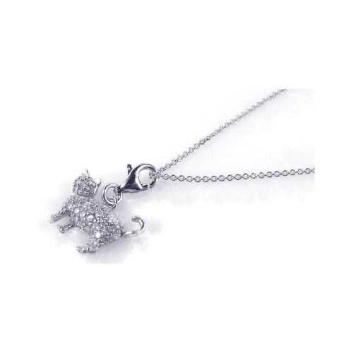 -Closeout- Wholesale Sterling Silver 925 Rhodium Plated Clear CZ Cat Pendant Necklace - STP00747