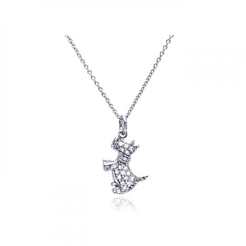 Wholesale Sterling Silver 925 Rhodium Plated Clear CZ Dog Pendant Necklace - STP00748