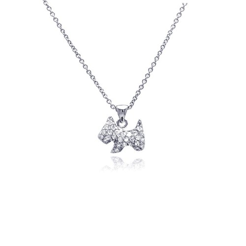 Wholesale Sterling Silver 925 Rhodium Plated Clear CZ Dog Pendant Necklace - STP00749