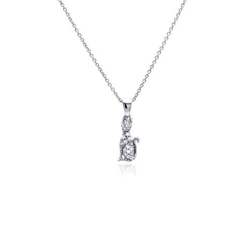 -Closeout- Wholesale Sterling Silver 925 Rhodium Plated Clear CZ Cat Pendant Necklace - STP00750