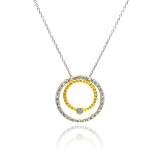 **Closeout** Sterling Silver Gold and Rhodium Plated Circle Pendant Necklace - STP00755