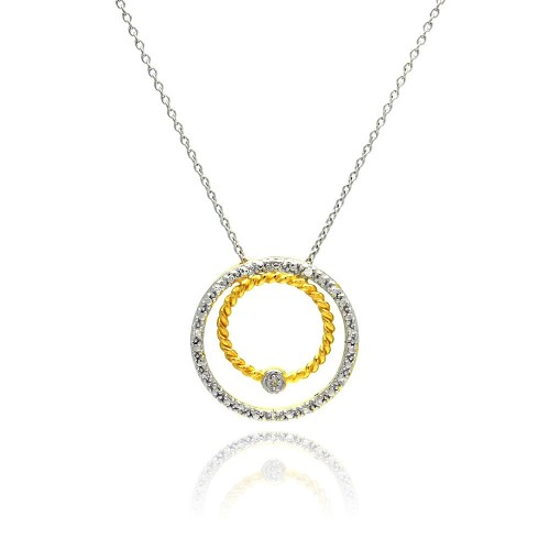 **Closeout** Wholesale Sterling Silver 925 Gold and Rhodium Plated Circle Pendant Necklace - STP00755