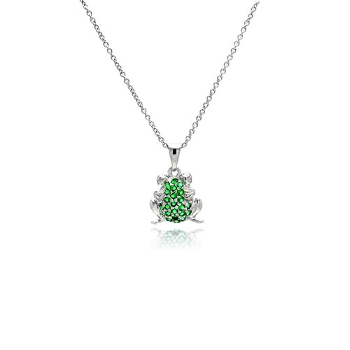 Wholesale Sterling Silver 925 Rhodium Plated Green CZ Frog Pendant Necklace - STP00760