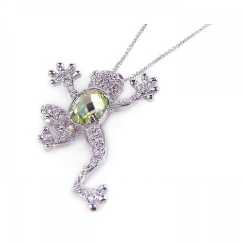Wholesale Sterling Silver 925 Rhodium Plated Green CZ Frog Pendant Necklace - STP00762