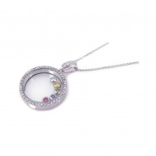 Sterling Silver Rhodium Plated Clear CZ Colorful Circle Pendant Necklace - STP00763