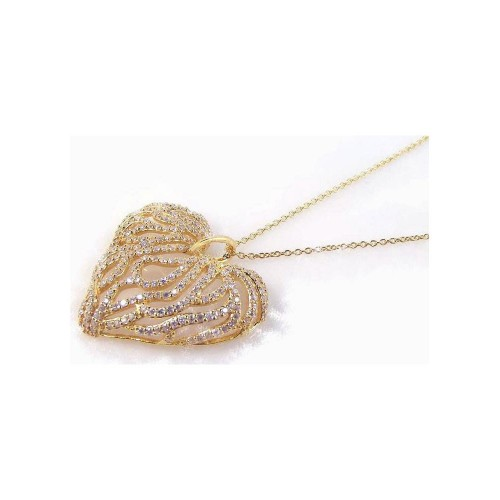 **Closeout** Wholesale Sterling Silver 925 Gold Plated Clear CZ Heart Pendant Necklace - STP00764