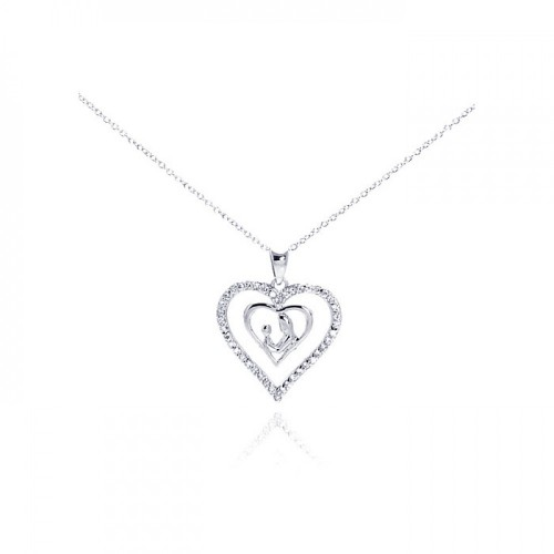 Wholesale Sterling Silver 925 Rhodium Plated Clear CZ Figurine Heart Pendant Necklace - STP00765