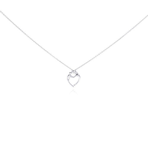 Wholesale Sterling Silver 925 Rhodium Plated Figurine Heart Pendant Necklace - STP00766