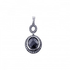 **CLOSEOUT** Sterling Silver Black Rhodium Plated Onyx Circle Pendant - STP00767