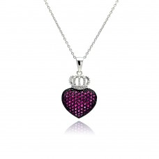 **Closeout** Wholesale Sterling Silver 925 Rhodium Plated Pink CZ Heart Crown Pendant Necklace - STP00769