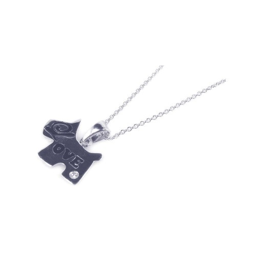 -Closeout- Wholesale Sterling Silver 925 Rhodium Plated Love Dog Pendant Necklace - STP00770