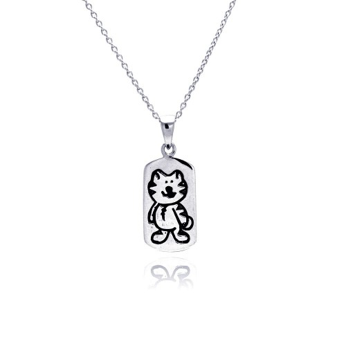 -Closeout- Wholesale Sterling Silver 925 Rhodium Plated Kitty Dogtag Pendant Necklace - STP00771