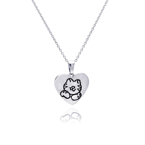 -Closeout- Wholesale Sterling Silver 925 Rhodium Plated Kitty Heart Pendant Necklace - STP00772