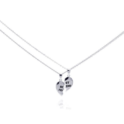 Wholesale Sterling Silver 925 Rhodium Plated Half Heart Piece Pendant Necklace - STP00776