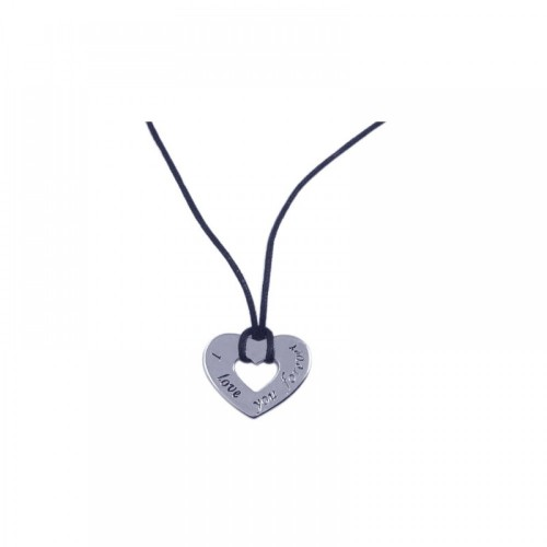 -Closeout- Wholesale Sterling Silver 925 Rhodium Plated Heart Medallion Pendant Necklace - STP00777