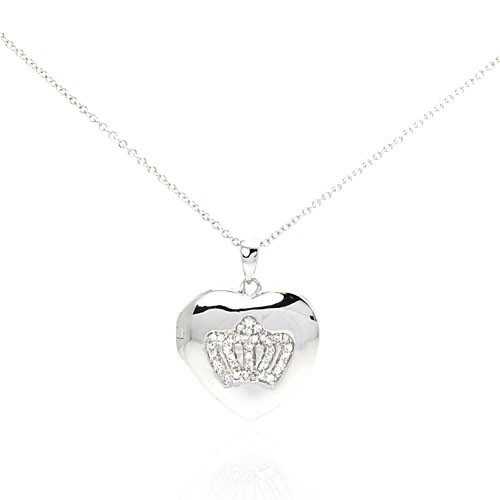 Wholesale Sterling Silver 925 Rhodium Plated Clear CZ Heart Pendant Necklace - STP00787