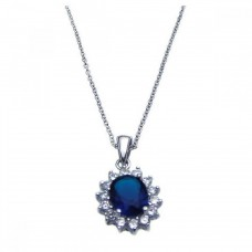 Sterling Silver Rhodium Plated Blue CZ Cluster Pendant Necklace - STP00788