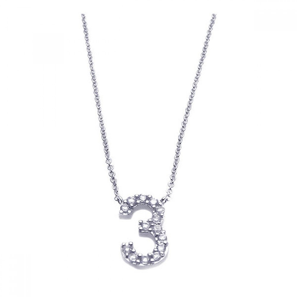 Sterling silver rhodium plated clear cz number 3 pendant necklace sterling silver rhodium plated clear cz number 3 pendant necklace stp00790 mozeypictures Images