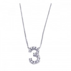 Sterling Silver Rhodium Plated Clear CZ Number 3 Pendant Necklace - STP00790