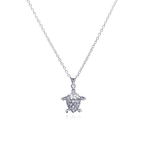 Wholesale Sterling Silver 925 Rhodium Plated Clear CZ Turtle Pendant Necklace - STP00795