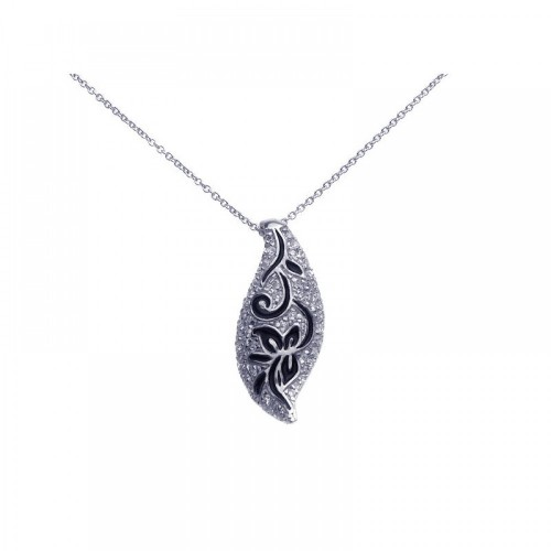 **Closeout** Wholesale Sterling Silver 925 Rhodium Plated Clear CZ Flower Pendant Necklace - STP00799