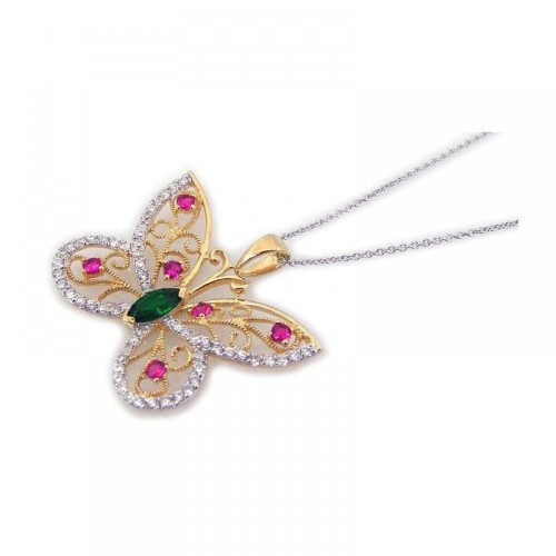 -Closeout- Wholesale Sterling Silver 925 Gold Plated Clear and Pink CZ Butterfly Pendant Necklace - STP00801