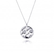 **Closeout** Sterling Silver Rhodium Plated Clear CZ Love Heart Round Pendant Necklace - STP00803
