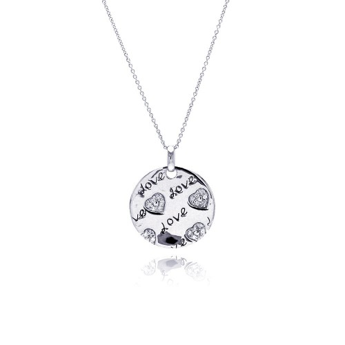 **Closeout** Wholesale Sterling Silver 925 Rhodium Plated Clear CZ Love Heart Round Pendant Necklace - STP00803