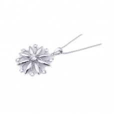 **Closeout** Wholesale Sterling Silver 925 Rhodium Plated Clear CZ Flower Pendant Necklace - STP00805