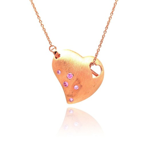 **Closeout** Wholesale Sterling Silver 925 Rose Gold Plated Clear CZ Heart Pendant Necklace - STP00808