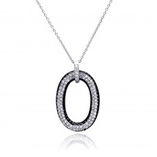 **Closeout** Sterling Silver Rhodium and Black Rhodium Plated Clear CZ Number 0 Pendant Necklace - STP00816