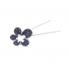 **Closeout** Wholesale Sterling Silver 925 Rhodium Plated Black CZ Flower Pendant Necklace - STP00818